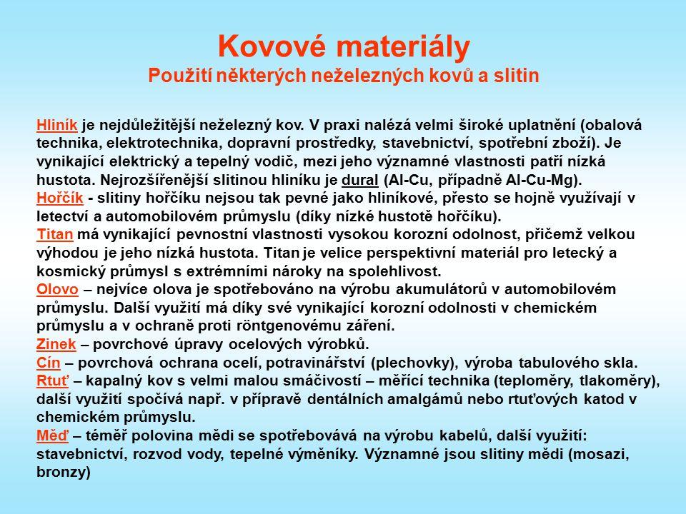 Kovové materiály Použití některých neželezných kovů a slitin Hliník je nejdůležitější neželezný kov. V praxi nalézá velmi široké uplatnění (obalová te