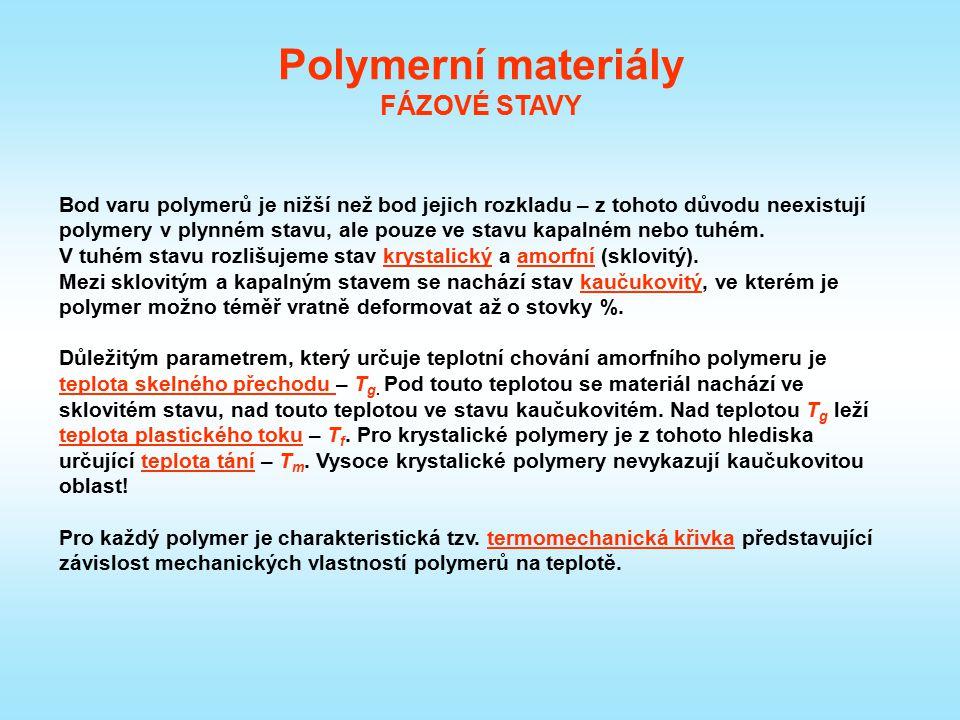 Polymerní materiály FÁZOVÉ STAVY Bod varu polymerů je nižší než bod jejich rozkladu – z tohoto důvodu neexistují polymery v plynném stavu, ale pouze v