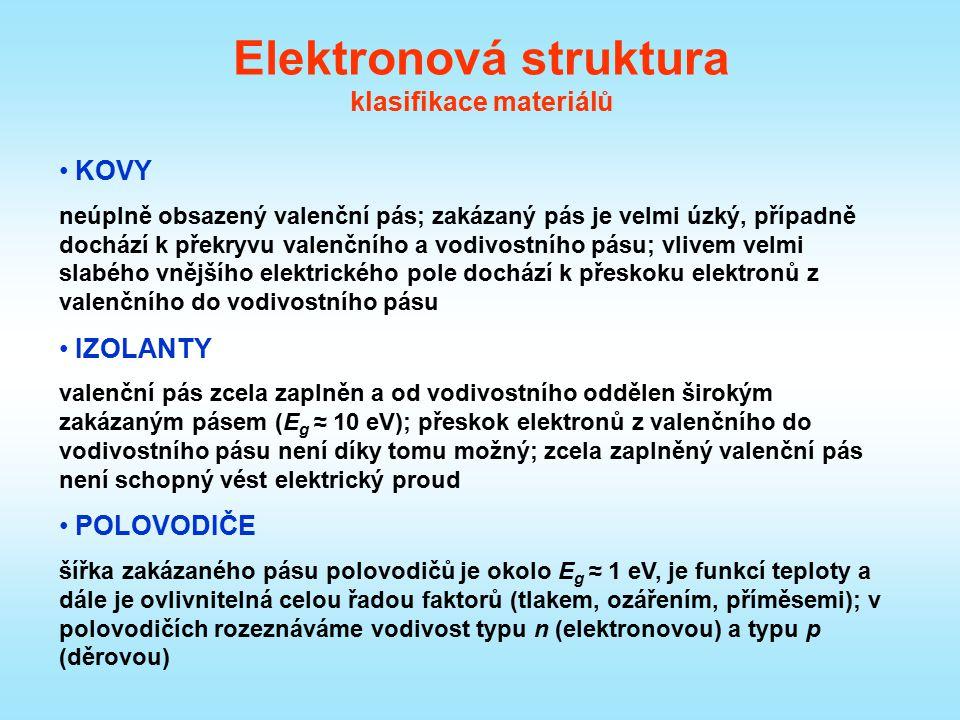 Elektronová struktura klasifikace materiálů KOVY neúplně obsazený valenční pás; zakázaný pás je velmi úzký, případně dochází k překryvu valenčního a v