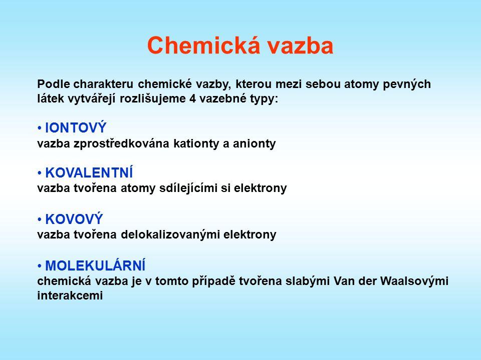 Chemická vazba Podle charakteru chemické vazby, kterou mezi sebou atomy pevných látek vytvářejí rozlišujeme 4 vazebné typy: IONTOVÝ vazba zprostředkov