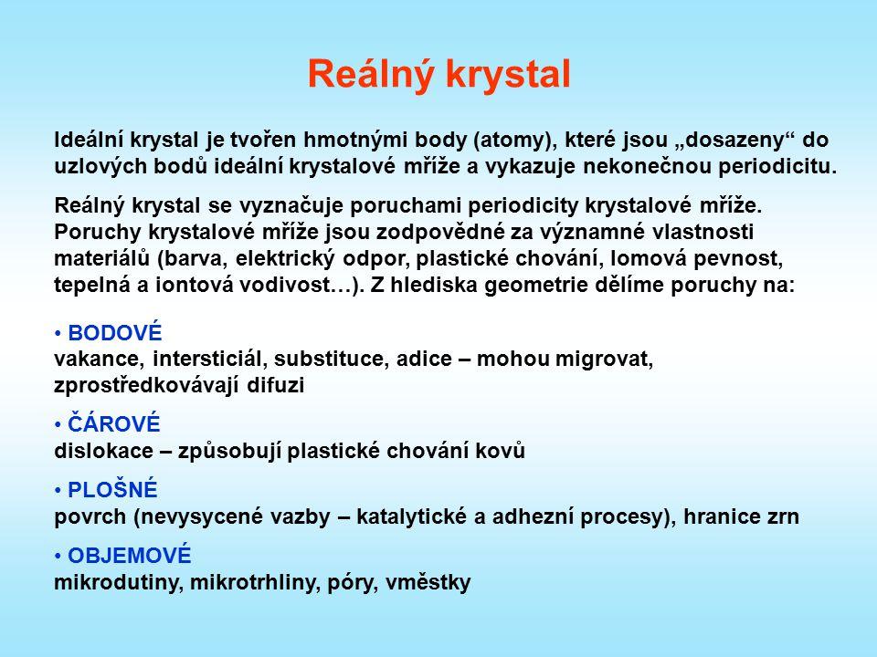 """Reálný krystal Ideální krystal je tvořen hmotnými body (atomy), které jsou """"dosazeny"""" do uzlových bodů ideální krystalové mříže a vykazuje nekonečnou"""