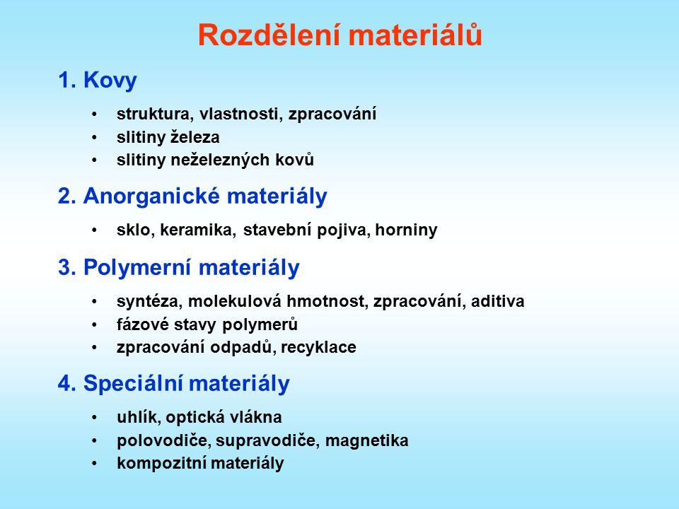 Rozdělení materiálů 1.Kovy struktura, vlastnosti, zpracování slitiny železa slitiny neželezných kovů 2.Anorganické materiály sklo, keramika, stavební