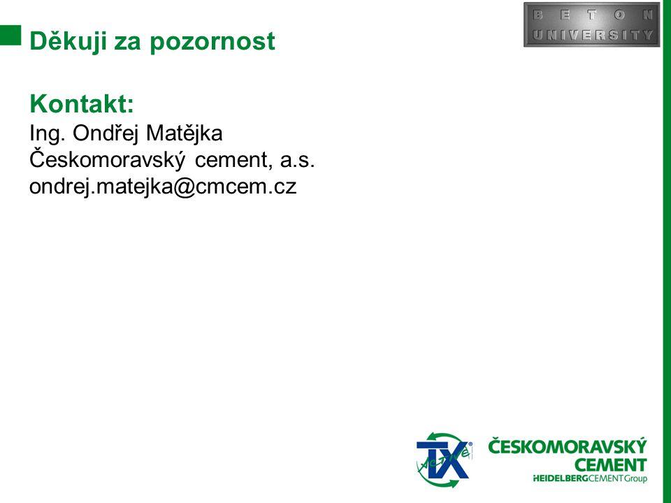 Děkuji za pozornost Kontakt: Ing. Ondřej Matějka Českomoravský cement, a.s. ondrej.matejka@cmcem.cz