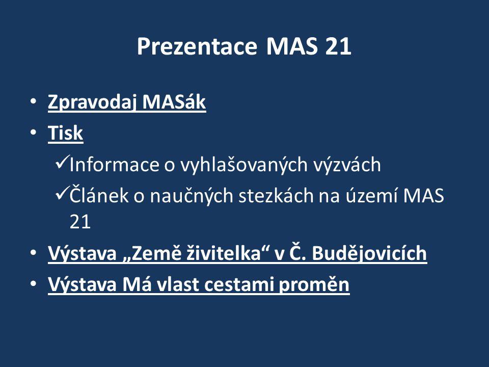 """Prezentace MAS 21 Zpravodaj MASák Tisk Informace o vyhlašovaných výzvách Článek o naučných stezkách na území MAS 21 Výstava """"Země živitelka v Č."""