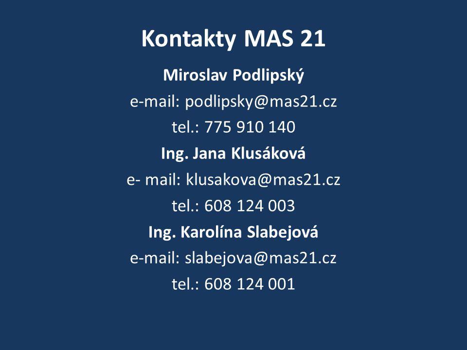 Kontakty MAS 21 Miroslav Podlipský e-mail: podlipsky@mas21.cz tel.: 775 910 140 Ing.