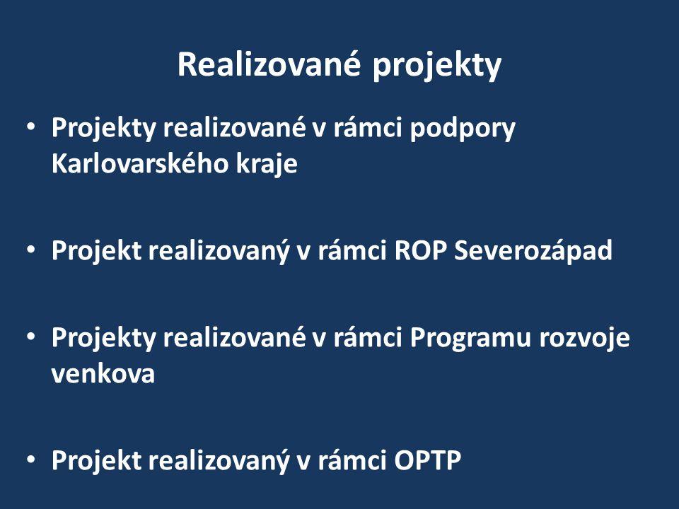 Realizované projekty Projekty realizované v rámci podpory Karlovarského kraje Projekt realizovaný v rámci ROP Severozápad Projekty realizované v rámci Programu rozvoje venkova Projekt realizovaný v rámci OPTP
