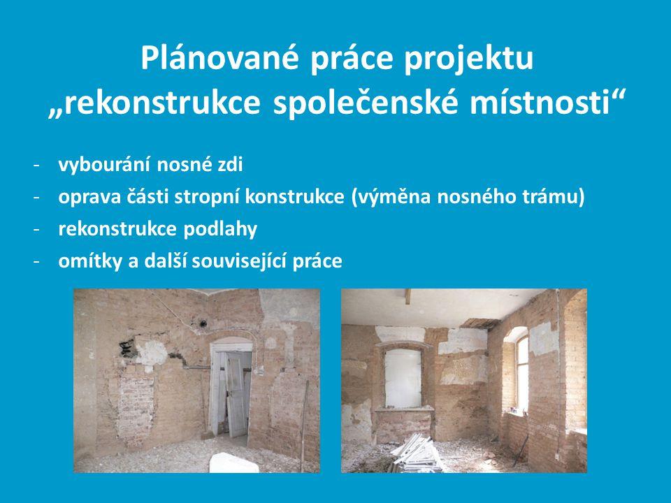 -vybourání nosné zdi -oprava části stropní konstrukce (výměna nosného trámu) -rekonstrukce podlahy -omítky a další související práce Plánované práce p