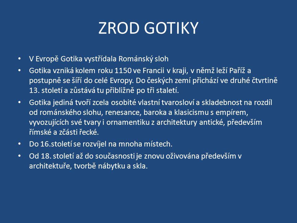 ZROD GOTIKY V Evropě Gotika vystřídala Románský sloh Gotika vzniká kolem roku 1150 ve Francii v kraji, v němž leží Paříž a postupně se šíří do celé Ev
