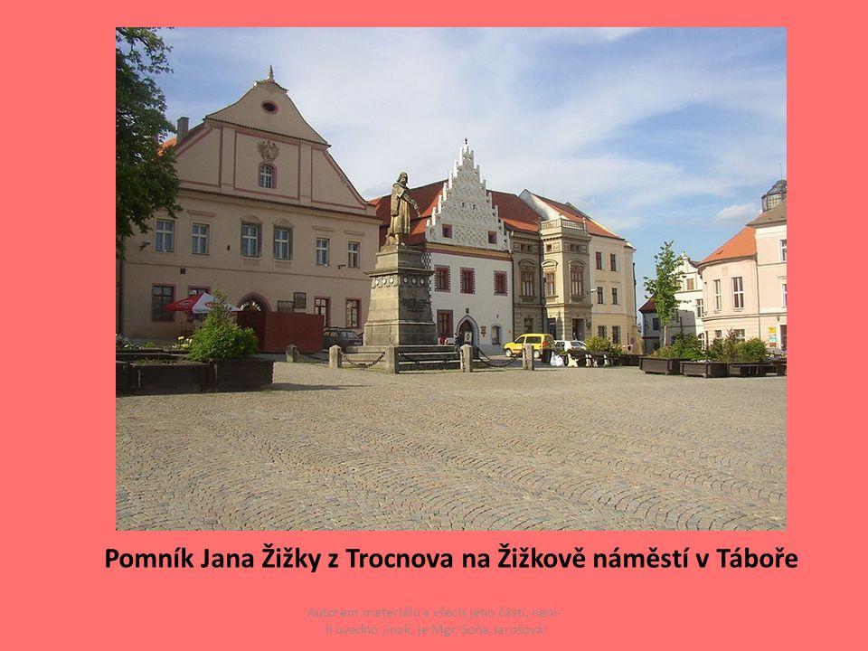 Autorem materiálu a všech jeho částí, není- li uvedno jinak, je Mgr. Soňa Jarošová Pomník Jana Žižky z Trocnova na Žižkově náměstí v Táboře