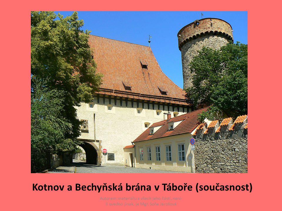 Kotnov a Bechyňská brána v Táboře (současnost) Autorem materiálu a všech jeho částí, není- li uvedno jinak, je Mgr. Soňa Jarošová