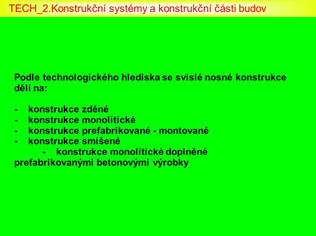 Podle technologického hlediska se svislé nosné konstrukce dělí na: -konstrukce zděné -konstrukce monolitické -konstrukce prefabrikované - montované -k