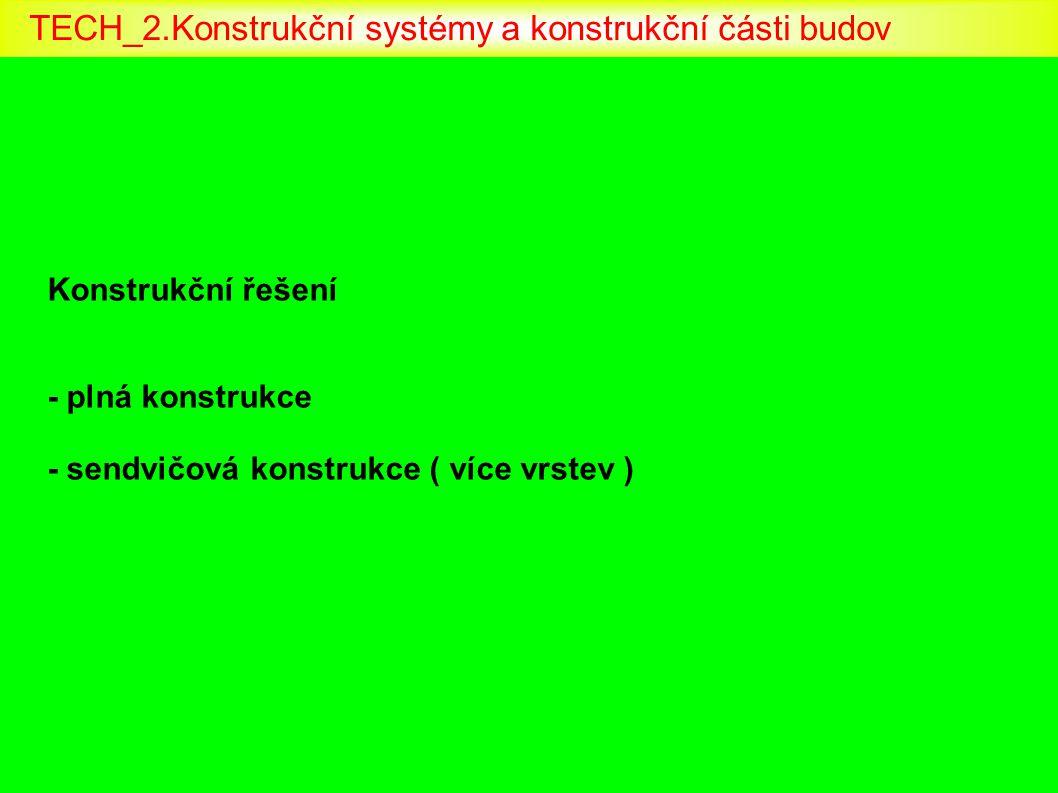 Konstrukční řešení - plná konstrukce - sendvičová konstrukce ( více vrstev ) TECH_2.Konstrukční systémy a konstrukční části budov