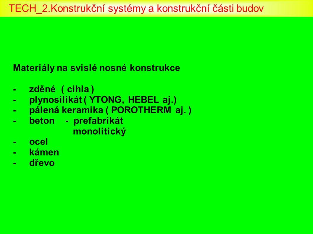 Materiály na svislé nosné konstrukce - zděné ( cihla ) - plynosilikát ( YTONG, HEBEL aj.) - pálená keramika ( POROTHERM aj. ) - beton - prefabrikát mo