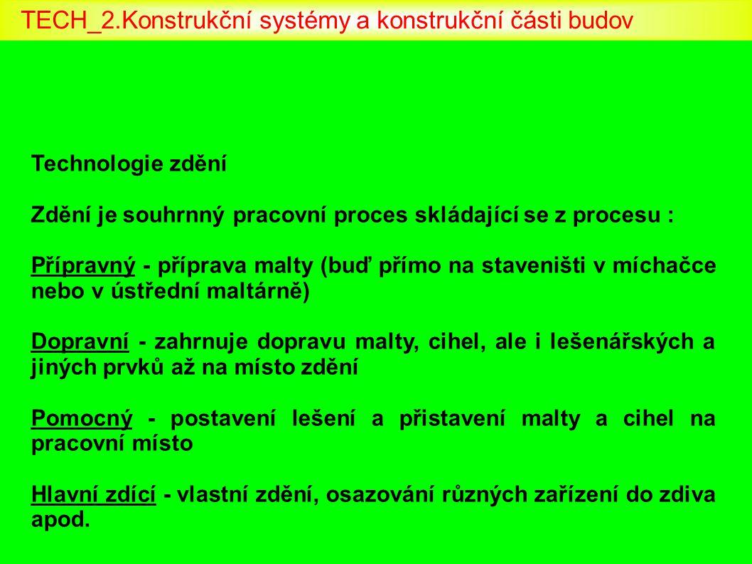 Technologie zdění Zdění je souhrnný pracovní proces skládající se z procesu : Přípravný - příprava malty (buď přímo na staveništi v míchačce nebo v ús