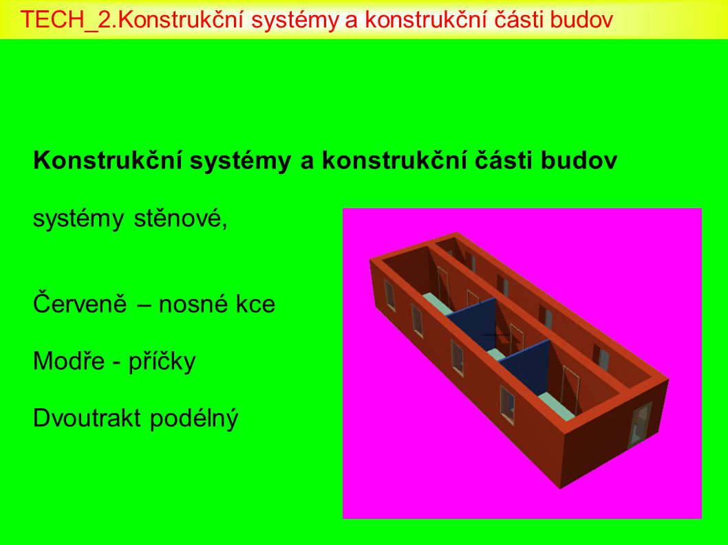 Konstrukční systémy a konstrukční části budov systémy stěnové, Červeně - nosné Modře - příčky Trojtrakt podélný TECH_2.Konstrukční systémy a konstrukční části budov