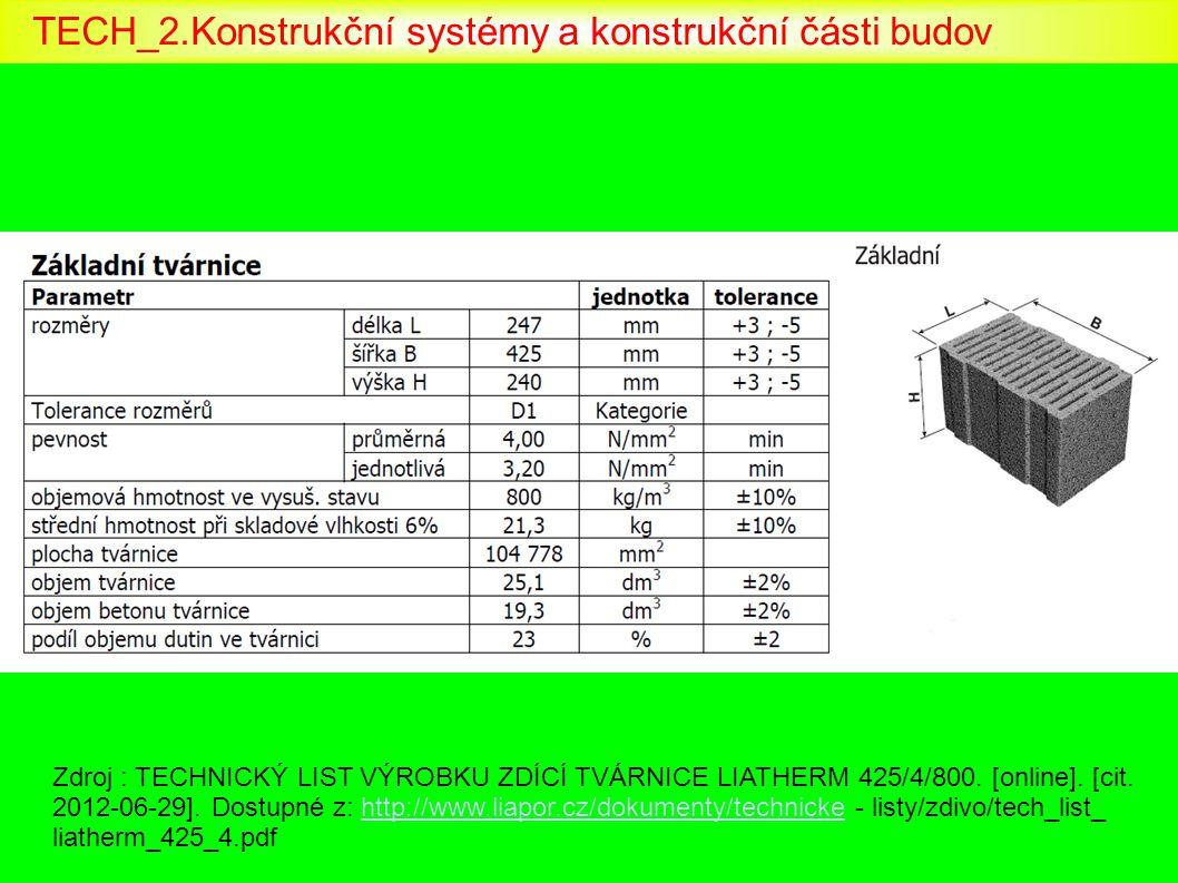 Zdroj : TECHNICKÝ LIST VÝROBKU ZDÍCÍ TVÁRNICE LIATHERM 425/4/800. [online]. [cit. 2012-06-29]. Dostupné z: http://www.liapor.cz/dokumenty/technicke -