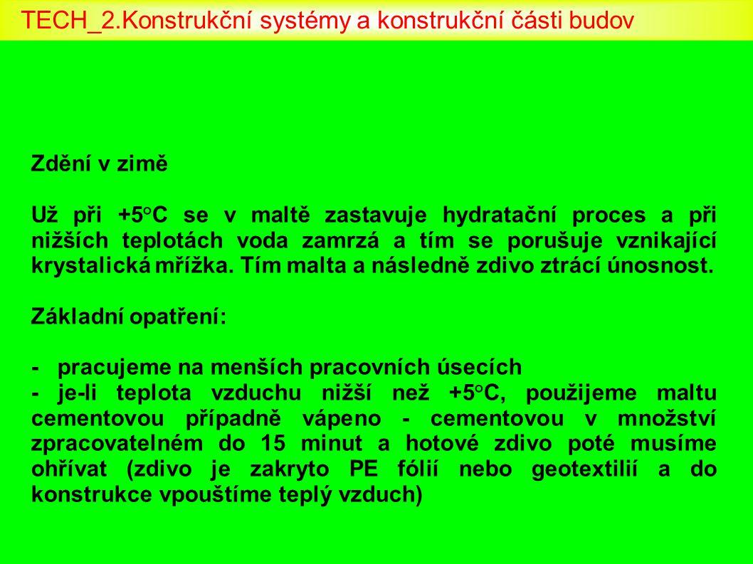 Zdění v zimě Už při +5°C se v maltě zastavuje hydratační proces a při nižších teplotách voda zamrzá a tím se porušuje vznikající krystalická mřížka. T