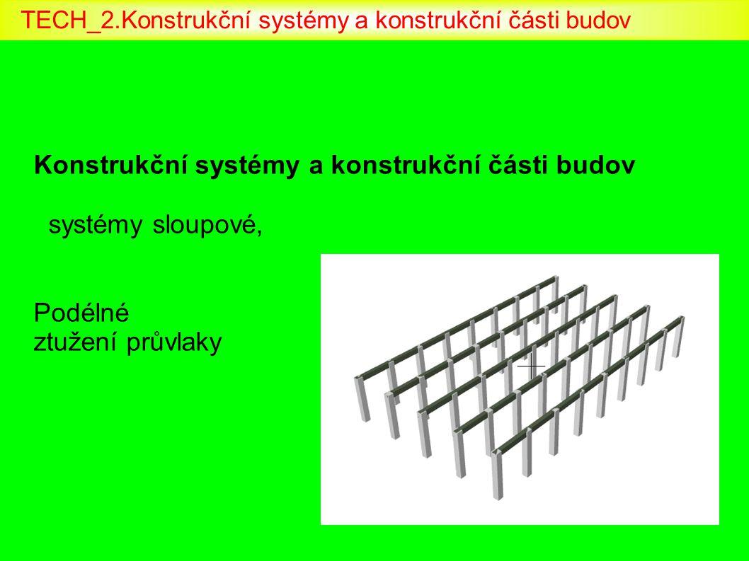 Konstrukční systémy a konstrukční části budov systémy sloupové, Podélné ztužení průvlaky TECH_2.Konstrukční systémy a konstrukční části budov