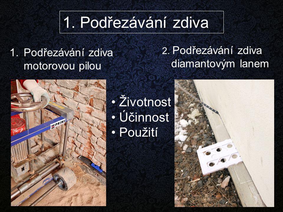 1.Podřezávání zdiva motorovou pilou 2. Podřezávání zdiva diamantovým lanem 1. Podřezávání zdiva Životnost Účinnost Použití
