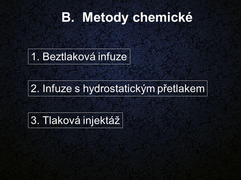 B. Metody chemické 1. Beztlaková infuze 2. Infuze s hydrostatickým přetlakem 3. Tlaková injektáž