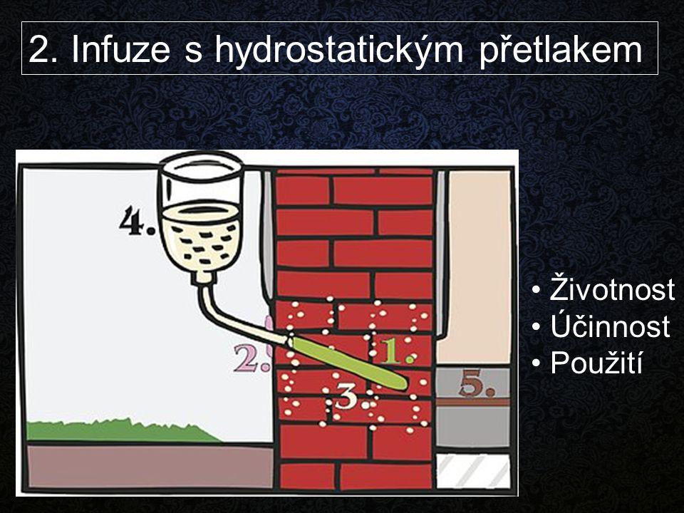 2. Infuze s hydrostatickým přetlakem Životnost Účinnost Použití