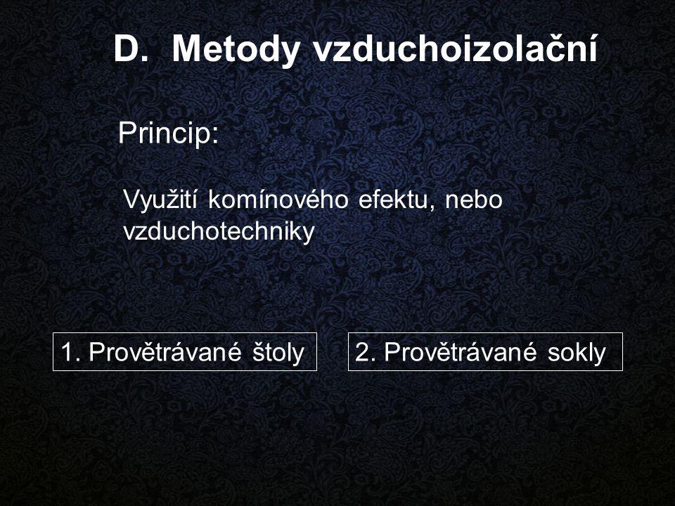 Využití komínového efektu, nebo vzduchotechniky D. Metody vzduchoizolační Princip: 1. Provětrávané štoly2. Provětrávané sokly