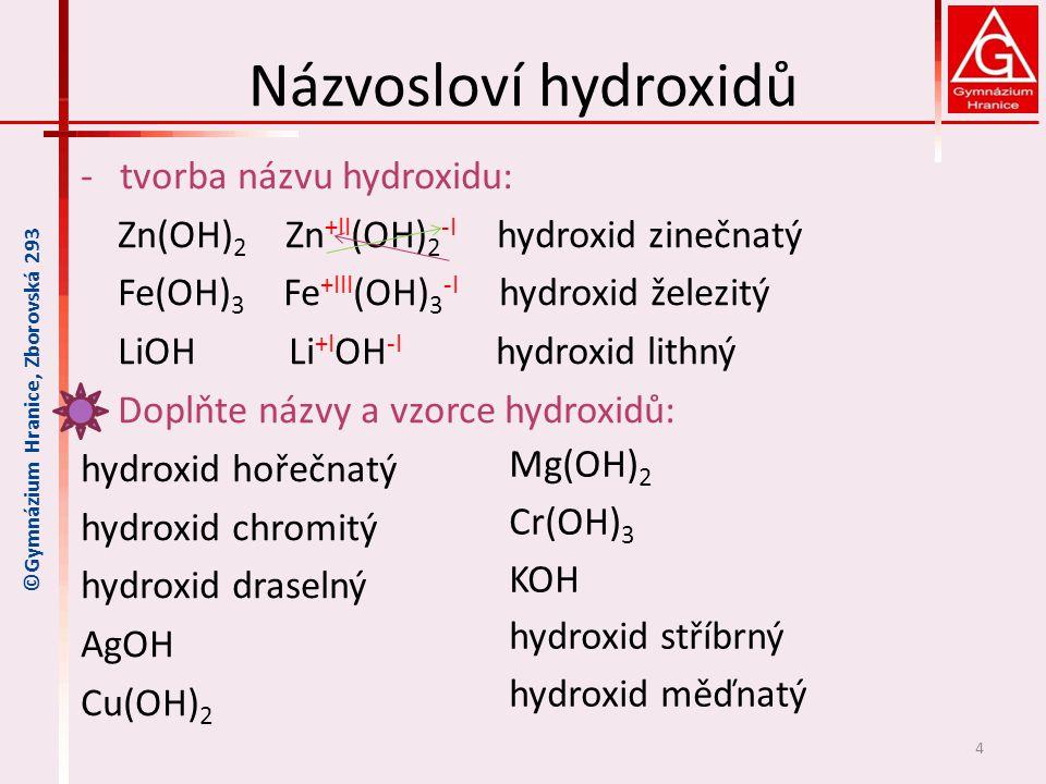 Názvosloví hydroxidů -tvorba názvu hydroxidu: Zn(OH) 2 Zn +II (OH) 2 -I hydroxid zinečnatý Fe(OH) 3 Fe +III (OH) 3 -I hydroxid železitý LiOH Li +I OH