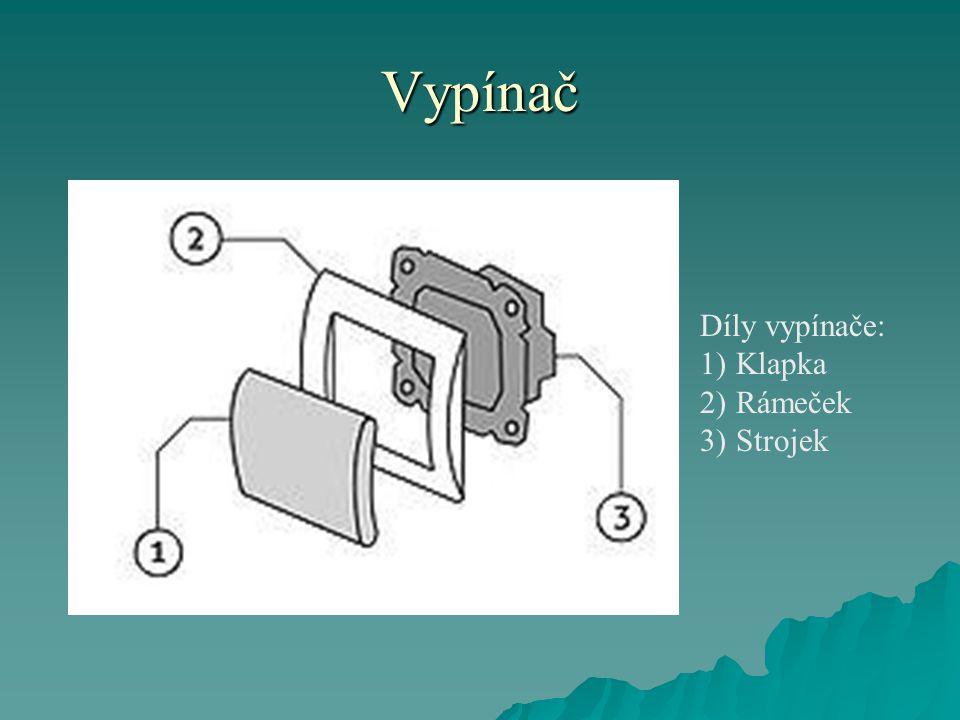 Vypínač Díly vypínače: 1)Klapka 2)Rámeček 3)Strojek