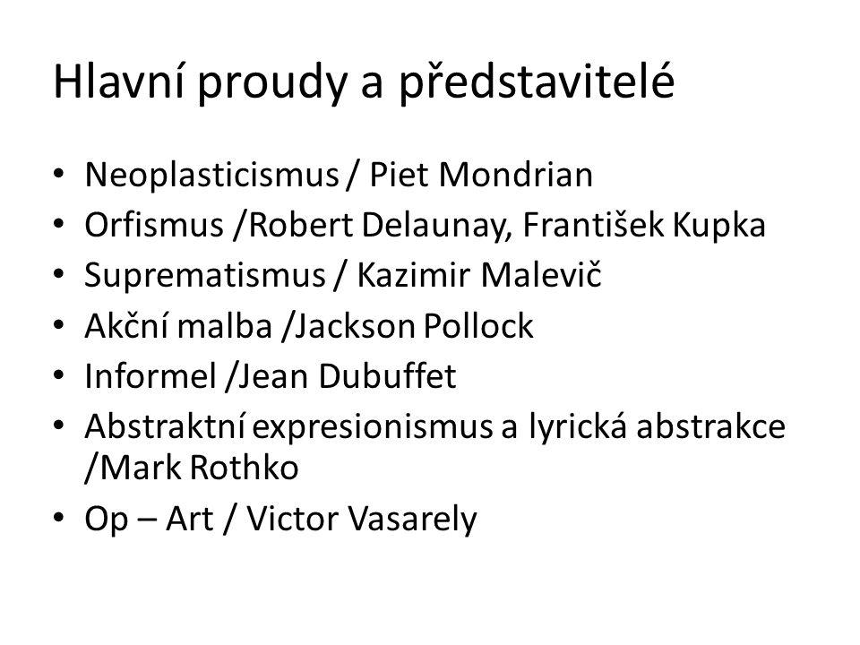 Hlavní proudy a představitelé Neoplasticismus / Piet Mondrian Orfismus /Robert Delaunay, František Kupka Suprematismus / Kazimir Malevič Akční malba /
