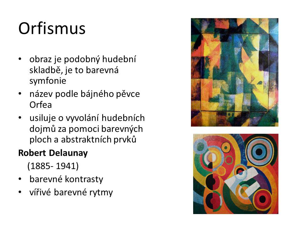 František Kupka (1871- 1957) hudební chápání barvy původem Čech, žil ve Francii rytmus vyjadřuje pomocí barevné čáry, plochy dynamické odstupňování barevných plánů Jezero-Klávesy piána,1909,NG