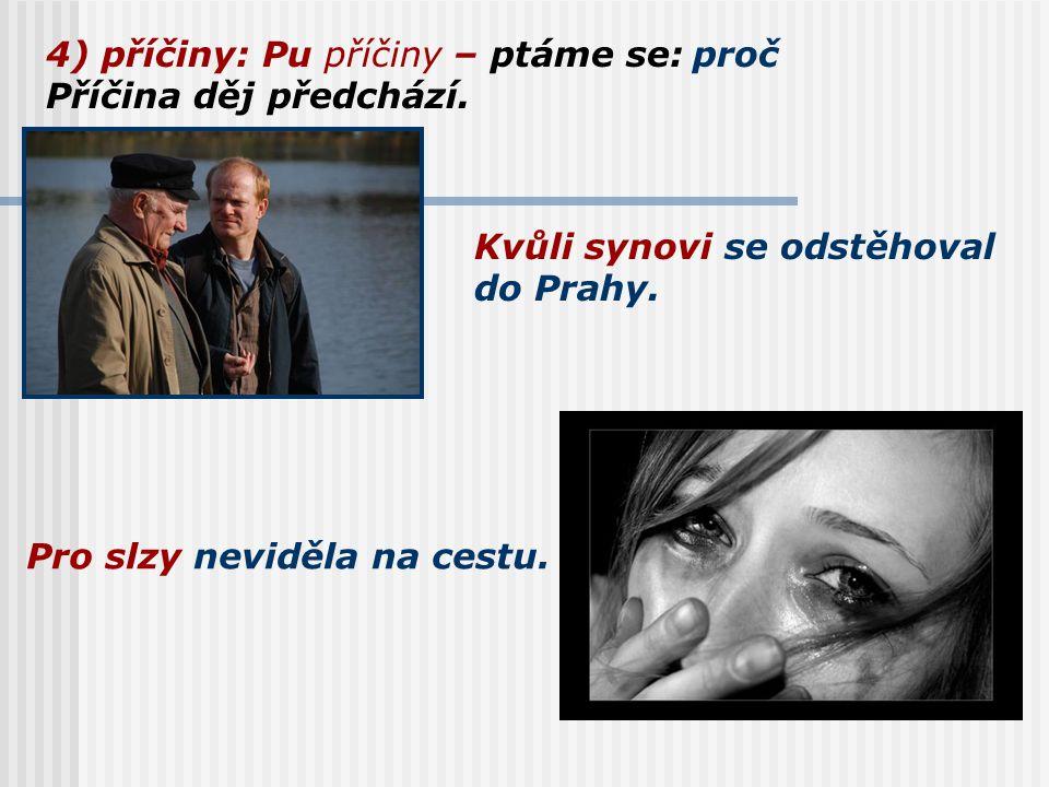 4) příčiny: Pu příčiny – ptáme se: Příčina děj předchází. proč Kvůli synovi se odstěhoval do Prahy. Pro slzy neviděla na cestu.