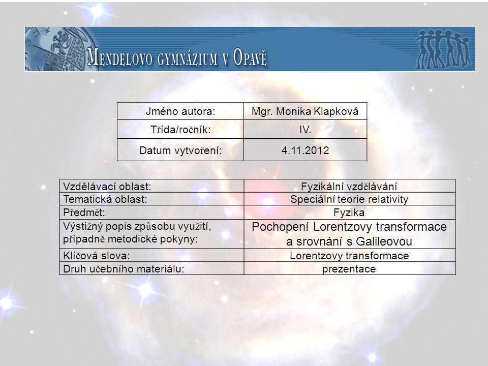 Speciální teorie relativity Lorentzova transformace