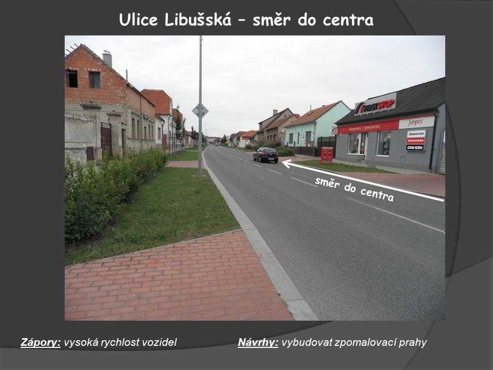 Ulice Libušská – směr do centra Zápory: vysoká rychlost vozidelNávrhy: vybudovat zpomalovací prahy směr do centra