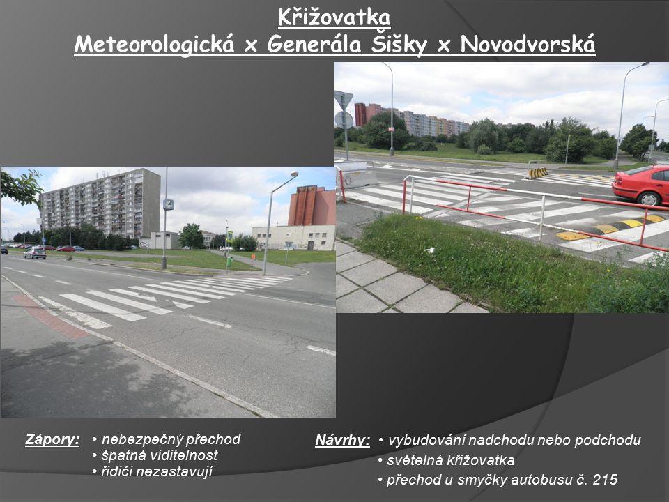 Návrhy: vybudování nadchodu nebo podchodu světelná křižovatka přechod u smyčky autobusu č. 215 Křižovatka Meteorologická x Generála Šišky x Novodvorsk