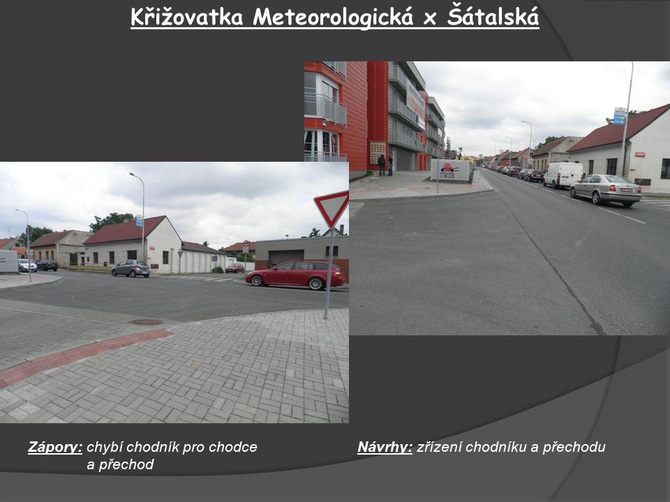 Křižovatka Meteorologická x Šátalská Zápory: chybí chodník pro chodce a přechod Návrhy: zřízení chodníku a přechodu