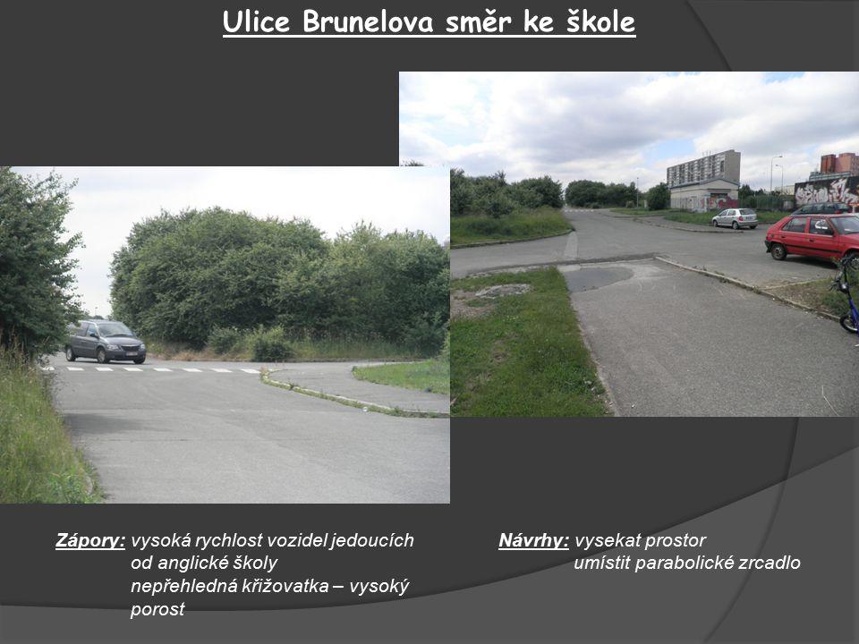 Ulice Brunelova směr ke škole Zápory: vysoká rychlost vozidel jedoucích od anglické školy nepřehledná křižovatka – vysoký porost Návrhy: vysekat prostor umístit parabolické zrcadlo
