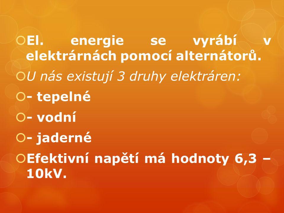  El. energie se vyrábí v elektrárnách pomocí alternátorů.  U nás existují 3 druhy elektráren:  - tepelné  - vodní  - jaderné  Efektivní napětí m