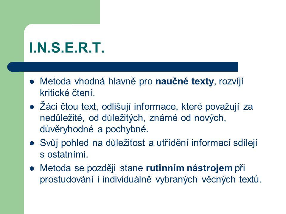 I.N.S.E.R.T. Metoda vhodná hlavně pro naučné texty, rozvíjí kritické čtení. Žáci čtou text, odlišují informace, které považují za nedůležité, od důlež
