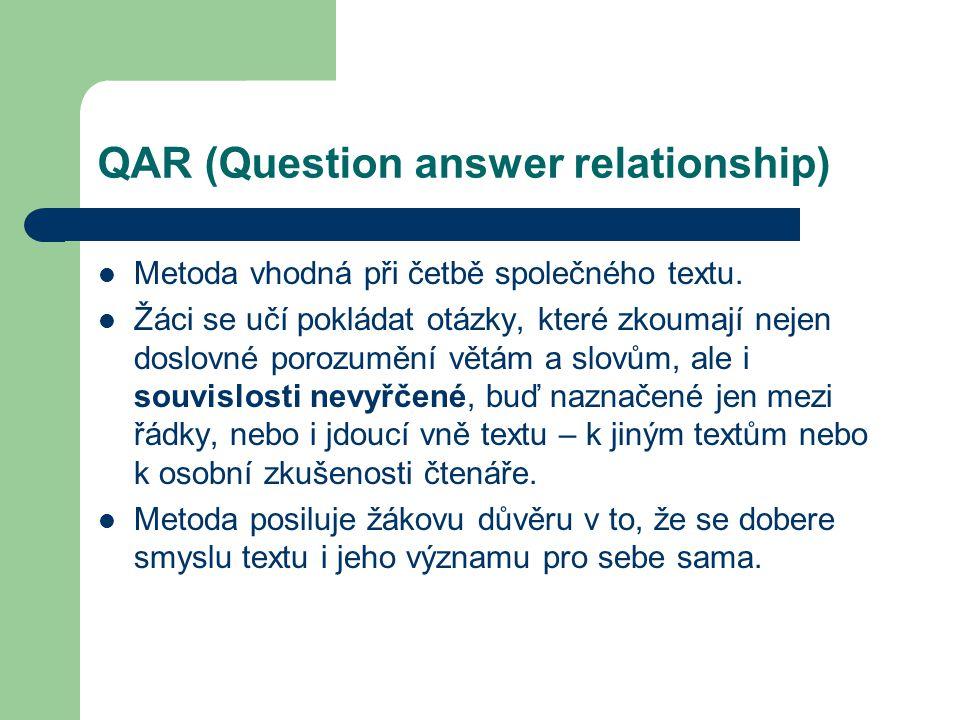 QAR (Question answer relationship) Metoda vhodná při četbě společného textu. Žáci se učí pokládat otázky, které zkoumají nejen doslovné porozumění vět