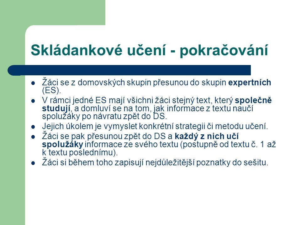 Skládankové učení - pokračování Žáci se z domovských skupin přesunou do skupin expertních (ES). V rámci jedné ES mají všichni žáci stejný text, který