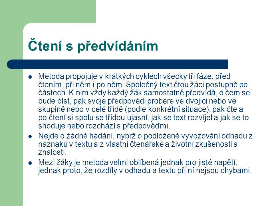 Čtení s předvídáním Metoda propojuje v krátkých cyklech všecky tři fáze: před čtením, při něm i po něm. Společný text čtou žáci postupně po částech. K