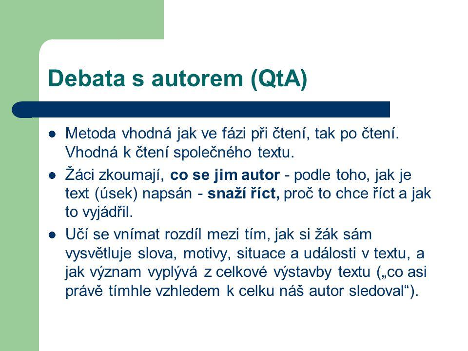 Debata s autorem (QtA) Metoda vhodná jak ve fázi při čtení, tak po čtení. Vhodná k čtení společného textu. Žáci zkoumají, co se jim autor - podle toho
