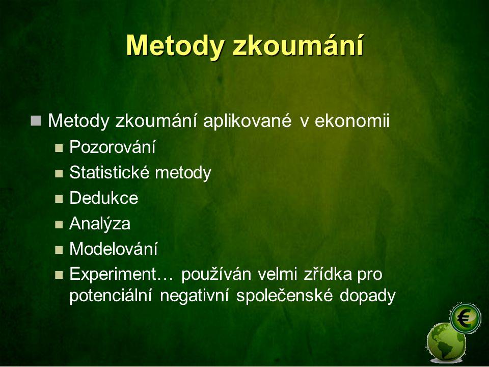 Metody zkoumání Metody zkoumání aplikované v ekonomii Pozorování Statistické metody Dedukce Analýza Modelování Experiment… používán velmi zřídka pro p