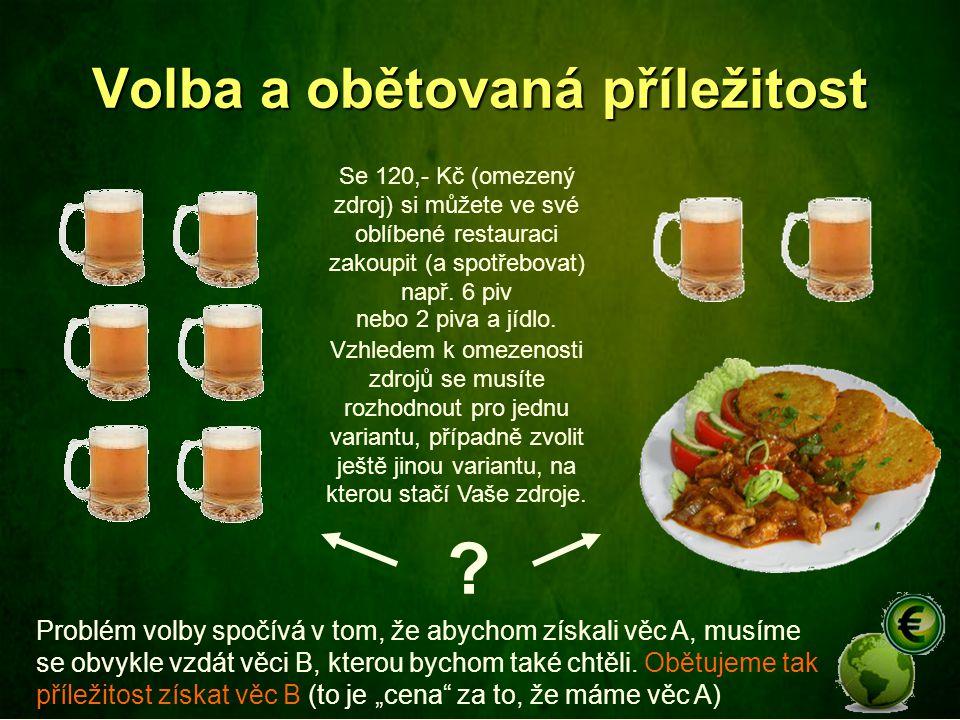 Volba a obětovaná příležitost Se 120,- Kč (omezený zdroj) si můžete ve své oblíbené restauraci zakoupit (a spotřebovat) např. 6 piv Problém volby spoč