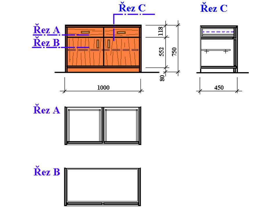 Zkusíme si vypočítat rozměry některých nábytkových dílců pro kusovník z výkresu. Abychom vše dobře pochopili budeme počítat rozměry dílců na jednoduch