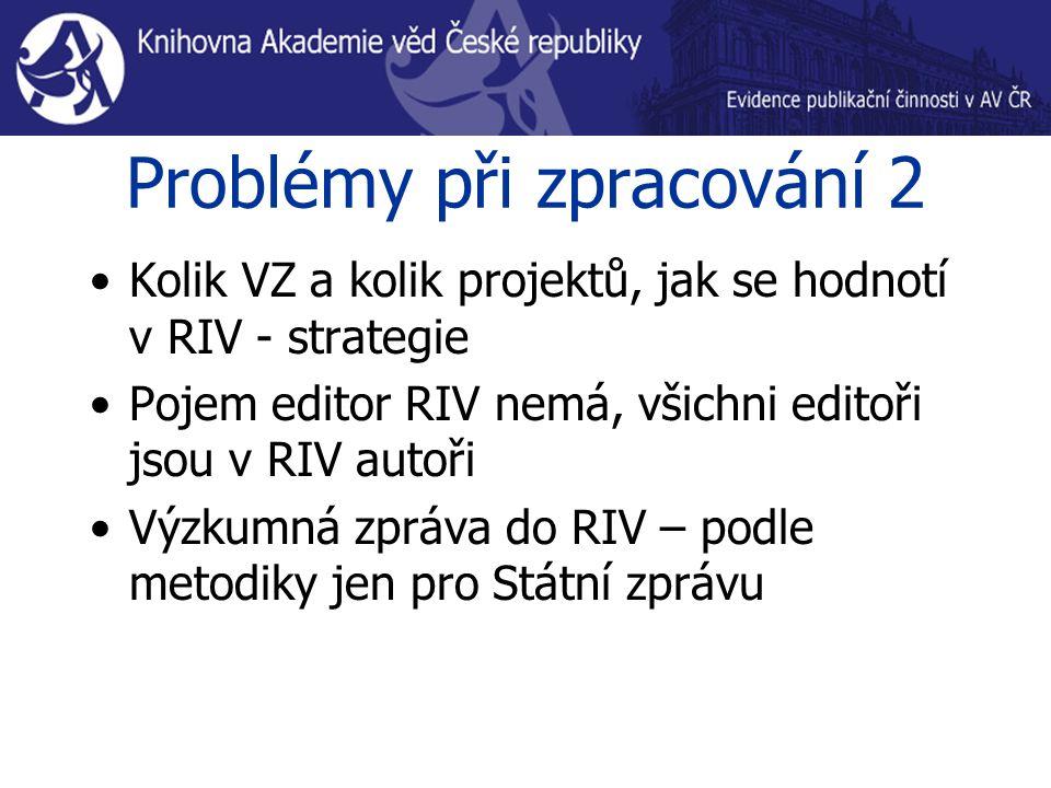 Problémy při zpracování 2 Kolik VZ a kolik projektů, jak se hodnotí v RIV - strategie Pojem editor RIV nemá, všichni editoři jsou v RIV autoři Výzkumná zpráva do RIV – podle metodiky jen pro Státní zprávu