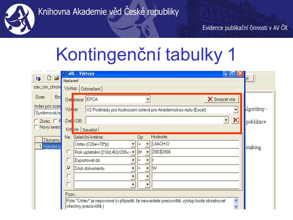 Kontingenční tabulky 1