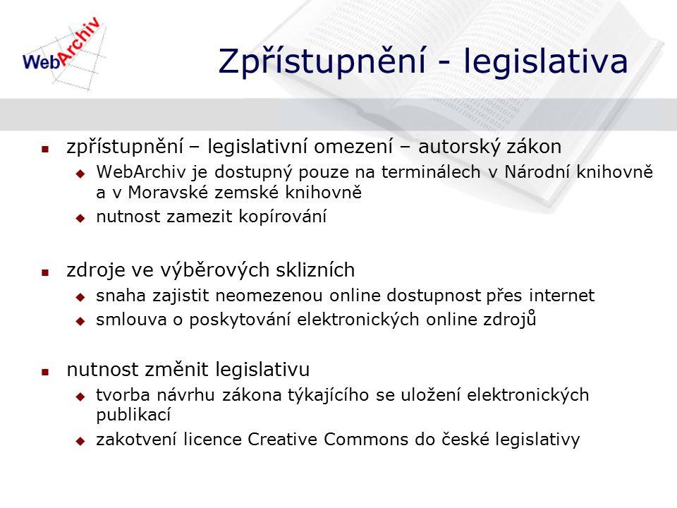 Zpřístupnění - legislativa zpřístupnění – legislativní omezení – autorský zákon  WebArchiv je dostupný pouze na terminálech v Národní knihovně a v Moravské zemské knihovně  nutnost zamezit kopírování zdroje ve výběrových sklizních  snaha zajistit neomezenou online dostupnost přes internet  smlouva o poskytování elektronických online zdrojů nutnost změnit legislativu  tvorba návrhu zákona týkajícího se uložení elektronických publikací  zakotvení licence Creative Commons do české legislativy