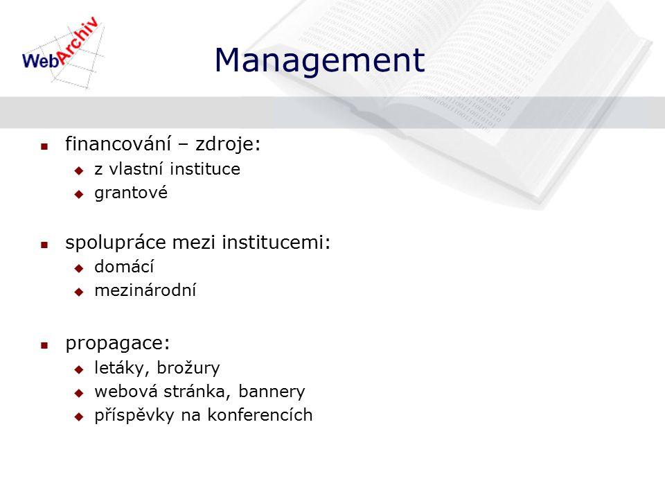 Management financování – zdroje:  z vlastní instituce  grantové spolupráce mezi institucemi:  domácí  mezinárodní propagace:  letáky, brožury  webová stránka, bannery  příspěvky na konferencích