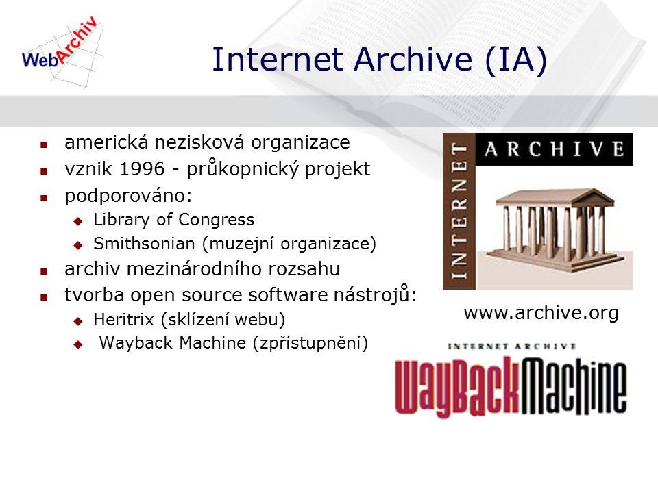 Internet Archive (IA) americká nezisková organizace vznik 1996 - průkopnický projekt podporováno:  Library of Congress  Smithsonian (muzejní organizace) archiv mezinárodního rozsahu tvorba open source software nástrojů:  Heritrix (sklízení webu)  Wayback Machine (zpřístupnění) www.archive.org